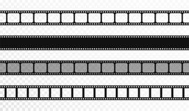 Άνευ ραφής λουρίδες ταινιών στο διαφανές υπόβαθρο Εκλεκτής ποιότητας ταινία κινηματογράφων και φωτογραφιών Αναδρομικές λουρίδες τ απεικόνιση αποθεμάτων