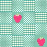 Άνευ ραφής μέντα και άσπρο σχέδιο με τις φράουλες Στοκ φωτογραφία με δικαίωμα ελεύθερης χρήσης