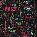 Άνευ ραφής ΜΑΓΙΚΕΣ λέξεις σχεδίων doodle στο μαύρο υπόβαθρο απεικόνιση αποθεμάτων