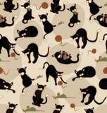 Άνευ ραφής μαύρες γάτες ελεύθερη απεικόνιση δικαιώματος