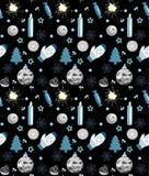 Άνευ ραφής μαύρης, άσπρης και μπλε, διανυσματικής απεικόνιση σχεδίων Χριστουγέννων, απεικόνιση αποθεμάτων