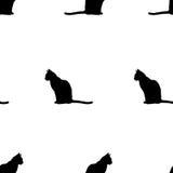 Άνευ ραφής μαύρη γάτα σχεδίων Στοκ Εικόνα