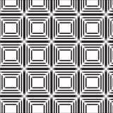 Άνευ ραφής μαύρο τετραγωνικό αφηρημένο σχέδιο γραμμών με το άσπρο υπόβαθρο Στοκ Φωτογραφία