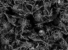 Άνευ ραφής μαύρο υπόβαθρο λουλουδιών στοκ εικόνα με δικαίωμα ελεύθερης χρήσης