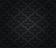 Άνευ ραφής μαύρο floral damask σχέδιο ταπετσαριών στοκ εικόνα
