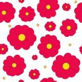 Άνευ ραφής με τα κόκκινα λουλούδια στο άσπρο υπόβαθρο ελεύθερη απεικόνιση δικαιώματος