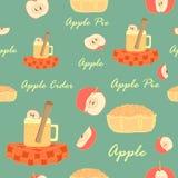 Άνευ ραφής με το μηλίτη της Apple, τα μήλα και την πίτα της Apple ελεύθερη απεικόνιση δικαιώματος