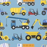 Άνευ ραφής μηχανήματα σχεδίων εξοπλισμού κατασκευής με διανυσματική απεικόνιση μεταφορών φορτηγών την επίπεδη κίτρινη ελεύθερη απεικόνιση δικαιώματος