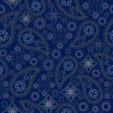 Άνευ ραφής μονοχρωματικό γεωμετρικό σχέδιο με το Paisley και τα λουλούδια Διανυσματική τυπωμένη ύλη Στοκ Φωτογραφία