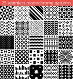 άνευ ραφής μονοχρωματικό σχέδιο 25 άνευ ραφής διάνυσμα προτύπων Στοκ Εικόνες