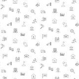 Άνευ ραφής μονοχρωματικό σχέδιο εικονιδίων ακίνητων περιουσιών Στοκ Εικόνα