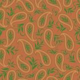 Άνευ ραφής μονοχρωματικό σχέδιο με τα φύλλα και το Paisley Διανυσματική τυπωμένη ύλη Στοκ Φωτογραφία