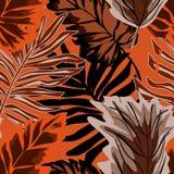Άνευ ραφής μοντέρνο τροπικό σχέδιο Φοίνικας, τροπικά φύλλα στο πορτοκαλί υπόβαθρο απεικόνιση αποθεμάτων