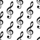Άνευ ραφής μουσικό τριπλό σχέδιο clef Στοκ Φωτογραφίες