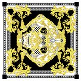 Άνευ ραφής μπαρόκ με το άσπρο μαύρο χρυσό μαντίλι χρώματος ελεύθερη απεικόνιση δικαιώματος