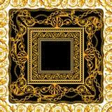 Άνευ ραφής μπαρόκ χρυσή αλυσίδα στο άσπρο μαύρο σχέδιο μαντίλι διανυσματική απεικόνιση