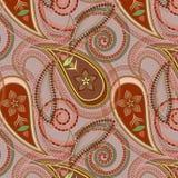 Άνευ ραφής μπεζ σχέδιο με το Paisley και τα λουλούδια Διανυσματική τυπωμένη ύλη Στοκ Φωτογραφίες