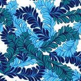 Άνευ ραφής μπλε διακοσμητικά φτερά διακοσμήσεων διακοσμητική διακόσμηση Στοκ Φωτογραφία