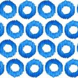 Άνευ ραφής μπλε ελεγμένο υπόβαθρο σχεδίων watercolor ikat Στοκ Εικόνες