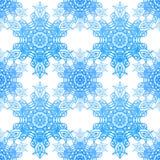 Άνευ ραφής μπλε πρότυπο με snowflakes κομψότητας Στοκ Εικόνες