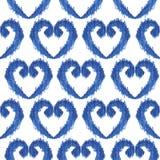 Άνευ ραφής μπλε σχέδιο watercolor μορφής καρδιών ikat στο λευκό Στοκ Εικόνα