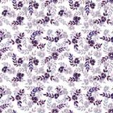 Άνευ ραφής μπλε RAD σχεδίων φύλλα Watercolor Στοκ Εικόνα
