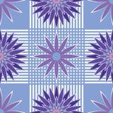 Άνευ ραφής μπλε και ιώδη αφηρημένα λουλούδια σχεδίων Στοκ Εικόνες