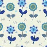 Άνευ ραφής μπλε λουλούδια Στοκ Φωτογραφία