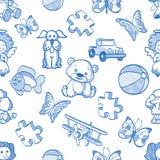 Άνευ ραφής μπλε σχέδιο παιδιών Στοκ Εικόνες