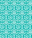 Άνευ ραφής μπλε damask σχέδιο πουλιών ελεύθερη απεικόνιση δικαιώματος