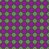 Άνευ ραφής μωσαϊκό της γεωμετρικής διακόσμησης με τα ρόδινα λουλούδια Στοκ Φωτογραφίες