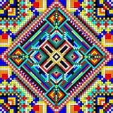 Άνευ ραφής μωσαϊκό της γεωμετρικής διακόσμησης με τα τετράγωνα και τα διαμάντια Στοκ Εικόνα