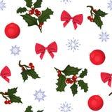 Άνευ ραφής νέο σχέδιο έτους και Χριστουγέννων Σχέδιο με τον ελαιόπρινο, τα τόξα, τις σφαίρες Χριστουγέννων και snowflakes ελεύθερη απεικόνιση δικαιώματος