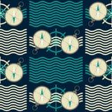 Άνευ ραφής ναυτικό σχέδιο με τα κύματα και τις πυξίδες απεικόνιση αποθεμάτων