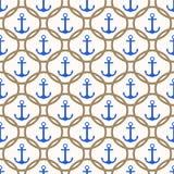 Άνευ ραφής ναυτικό σχέδιο με τις μπλε άγκυρες και το υπόβαθρο σχοινιών Στοκ Εικόνες
