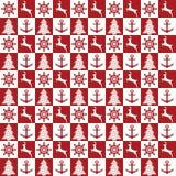 Άνευ ραφής ναυτικό σχέδιο Χριστουγέννων Στοκ Φωτογραφία