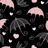 άνευ ραφής ομπρέλα καρδιών &a διανυσματική απεικόνιση