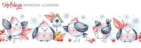 Άνευ ραφής οριζόντια γιρλάντα Watercolor Αστεία πουλιά, birdhouse, μούρα, φύλλα και snowflakes Νέο έτος Cretive Στοκ Φωτογραφία