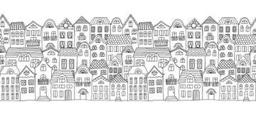 Άνευ ραφής οριζόντιο έμβλημα με τα χαριτωμένα μικρά σπίτια Στοκ Φωτογραφία