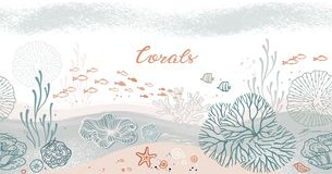 Άνευ ραφής οριζόντιο σχέδιο με τα κοράλλια, τα άλγη, τα ψάρια, και τον αστερία απεικόνιση αποθεμάτων