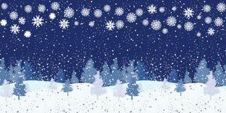 Άνευ ραφής οριζόντιο χειμερινό σχέδιο νύχτας Στοκ εικόνες με δικαίωμα ελεύθερης χρήσης