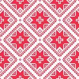 Άνευ ραφής ουκρανικό, σλαβικό λαϊκό σχέδιο κεντητικής τέχνης κόκκινο Στοκ φωτογραφίες με δικαίωμα ελεύθερης χρήσης