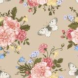 Άνευ ραφής λουλούδια και πεταλούδες σχεδίων Στοκ Εικόνα