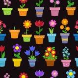 Άνευ ραφής λουλούδια στο σχέδιο υποβάθρου δοχείων Στοκ φωτογραφίες με δικαίωμα ελεύθερης χρήσης