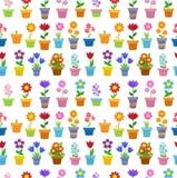 Άνευ ραφής λουλούδια στο σχέδιο υποβάθρου δοχείων Στοκ εικόνα με δικαίωμα ελεύθερης χρήσης