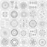 Άνευ ραφής λουλούδια doodle, φύλλα, σχέδιο καρδιών διανυσματική απεικόνιση