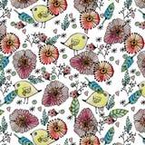 Άνευ ραφής λουλούδια watercolor σχεδίων, έγγραφο Στοκ Εικόνα