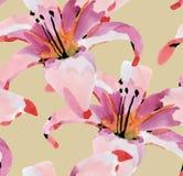 Άνευ ραφής λουλούδια Watercolor Στοκ εικόνες με δικαίωμα ελεύθερης χρήσης