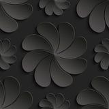 Άνευ ραφής λουλούδι εγγράφου σχεδίων μαύρο τρισδιάστατο, κύκλος, τρισδιάστατες ταπετσαρίες Στοκ Φωτογραφία