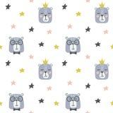 Άνευ ραφής παιδαριώδες σχέδιο με τις χαριτωμένα αρκούδες και τα αστέρια διανυσματική απεικόνιση